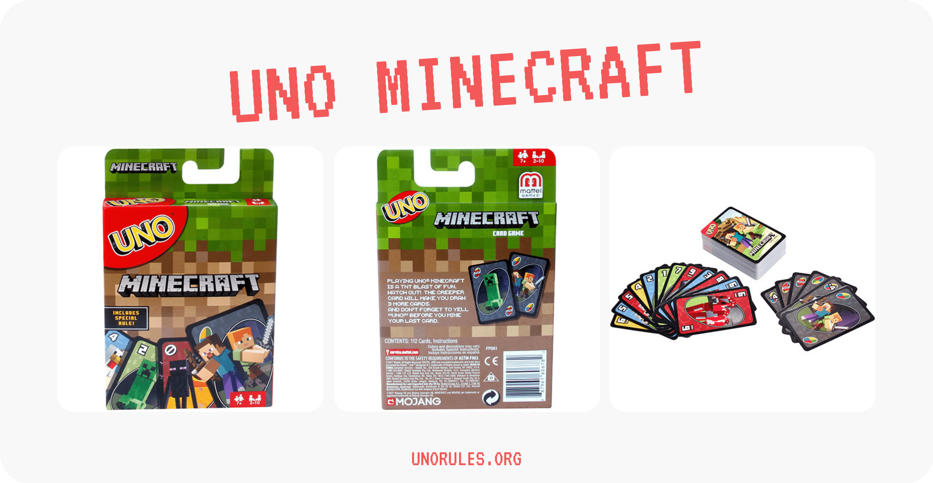 Minecraft Uno cards and package - Unorules.org